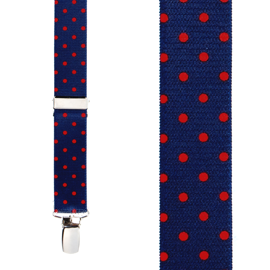 Polka Dot Suspenders with Red Dots on Navy - Front View
