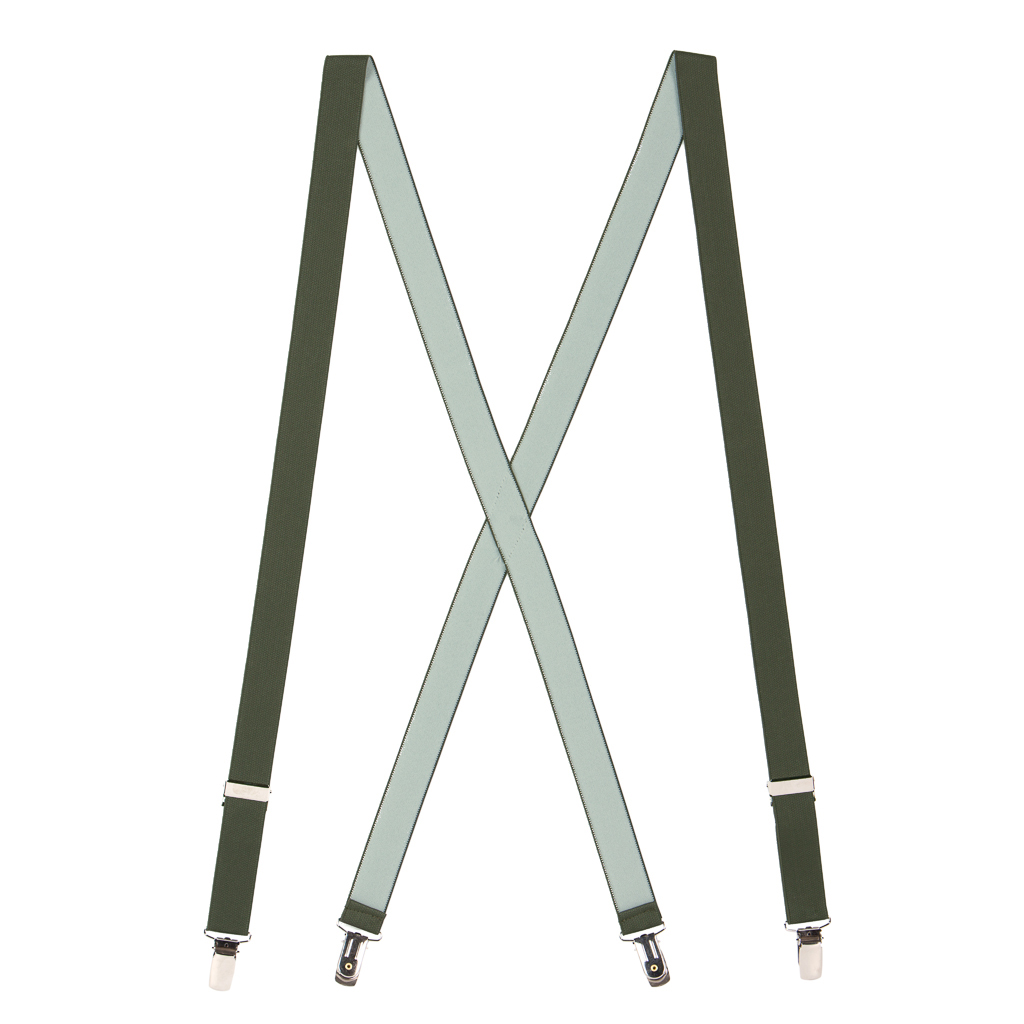 1-Inch Wide Suspenders in Bright Olive - Full View