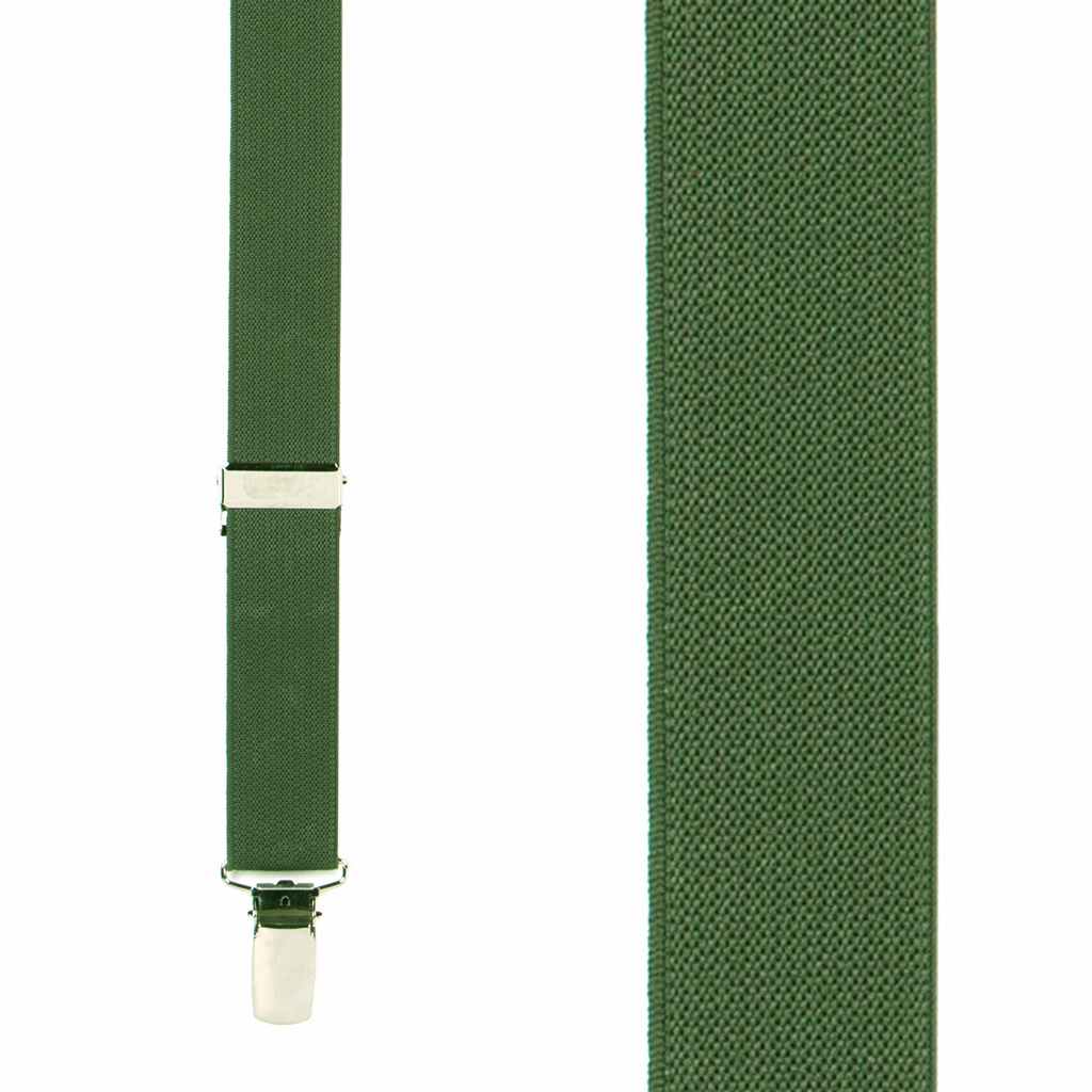 1 Inch Wide Clip X-Back Suspenders in Bright Olive - Front View