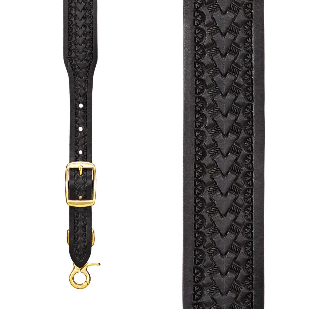 Basket Stamped 1.5 Inch Wide Western Leather Suspenders - BLACK