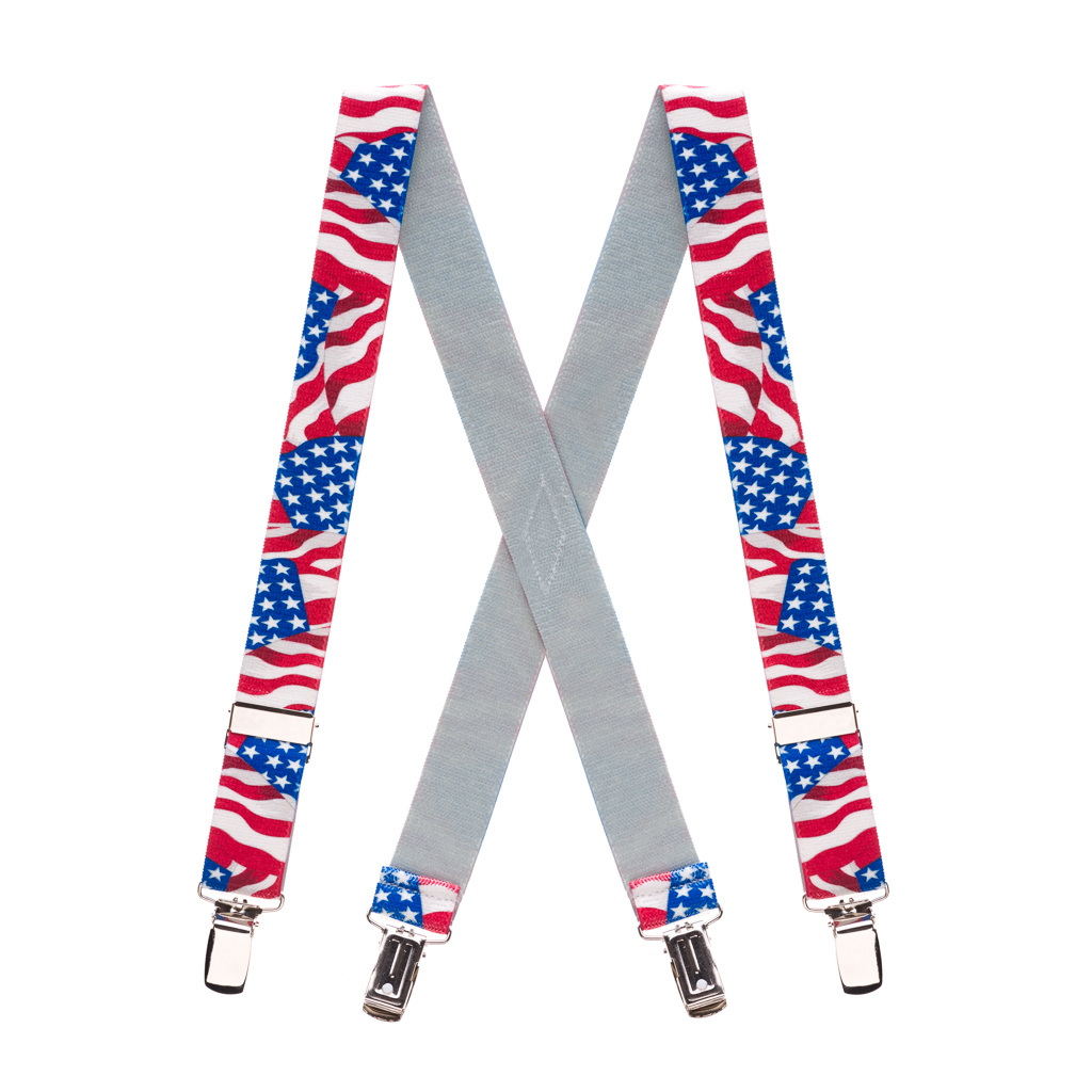 American Flag Suspenders for Kids - Full View