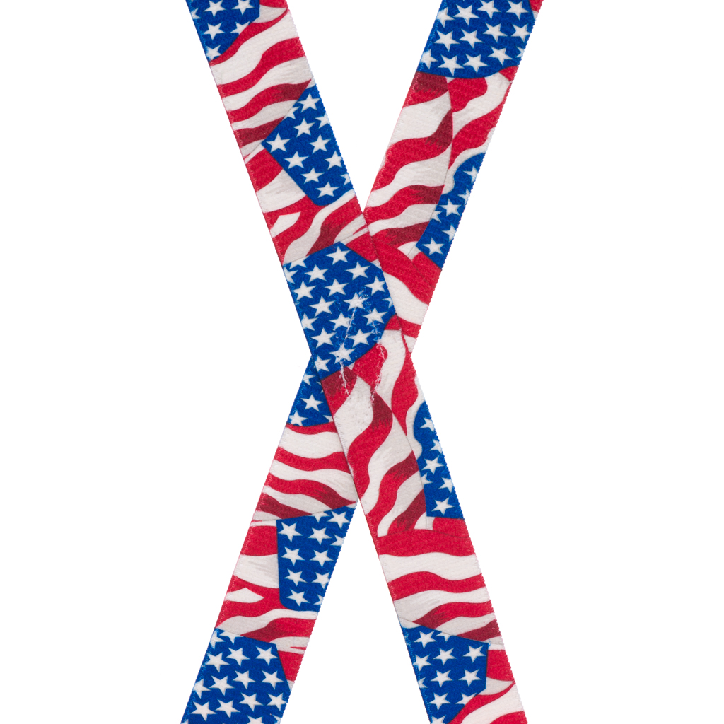 American Flag Suspenders for Kids - Rear View