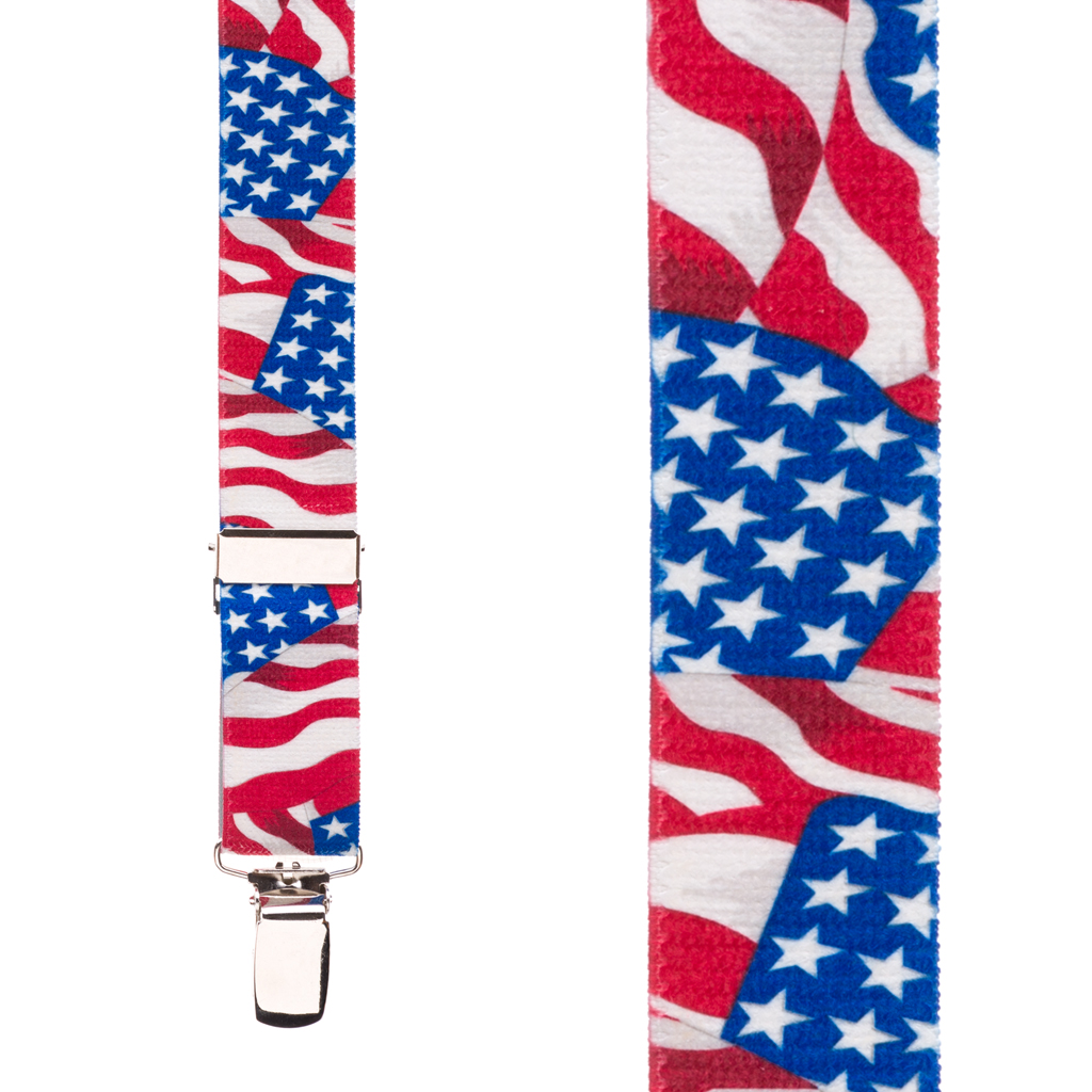 American Flag Suspenders for Kids - Front View