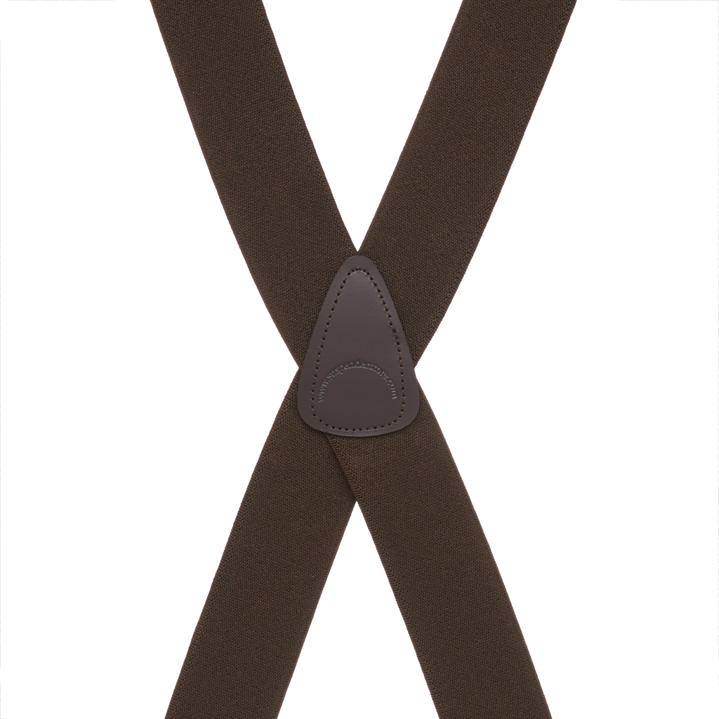 Rear View - Big & Tall Suspenders - 1.5 Inch Construction Clip Suspenders - Brown