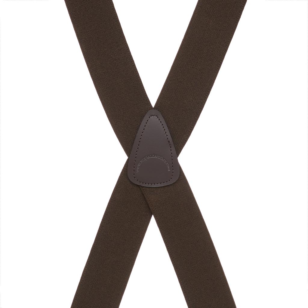Rear View - Big & Tall Suspenders - 1.5 Inch Construction Clip Suspenders - Brown