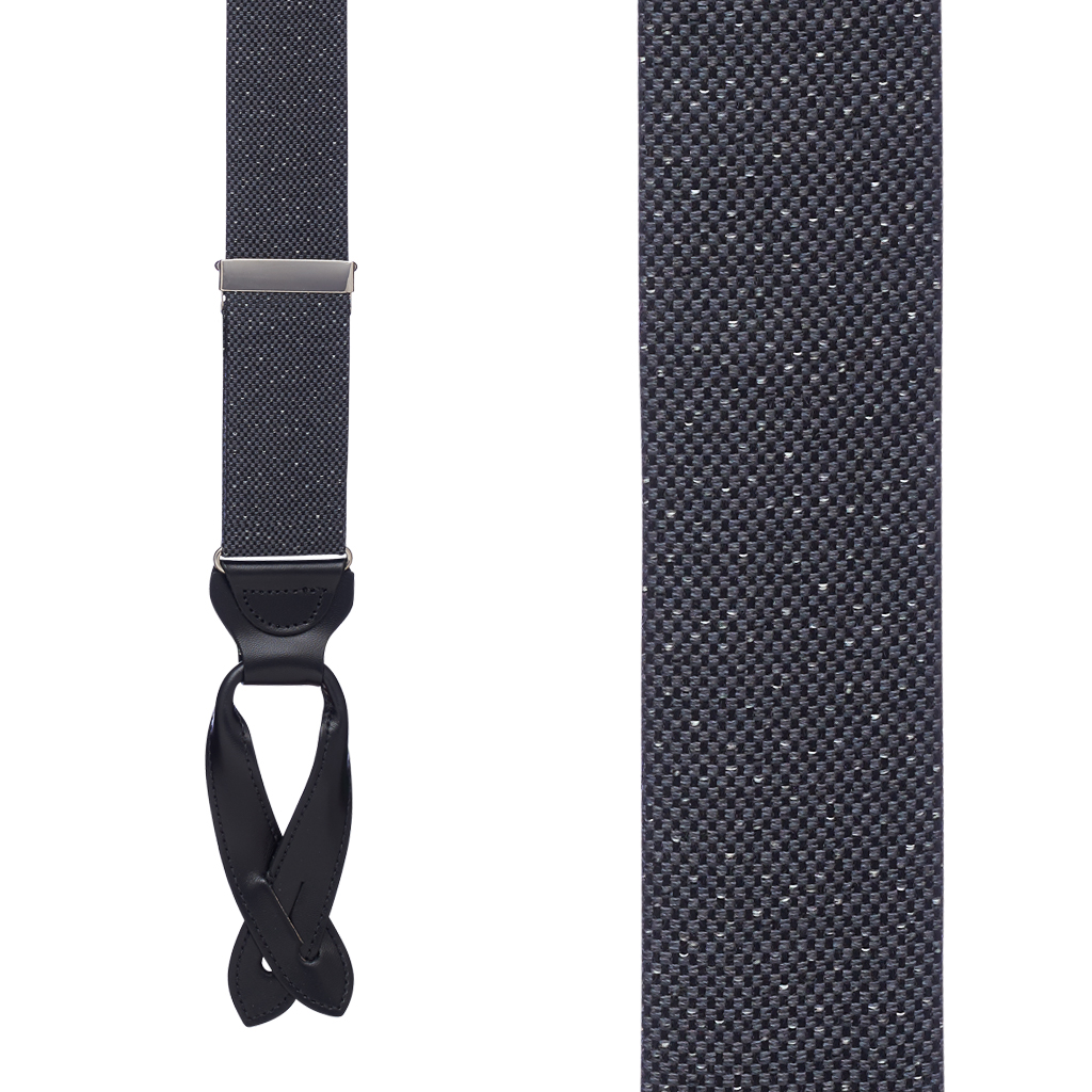 GREY Canton Silk Tweed Suspenders - Front View