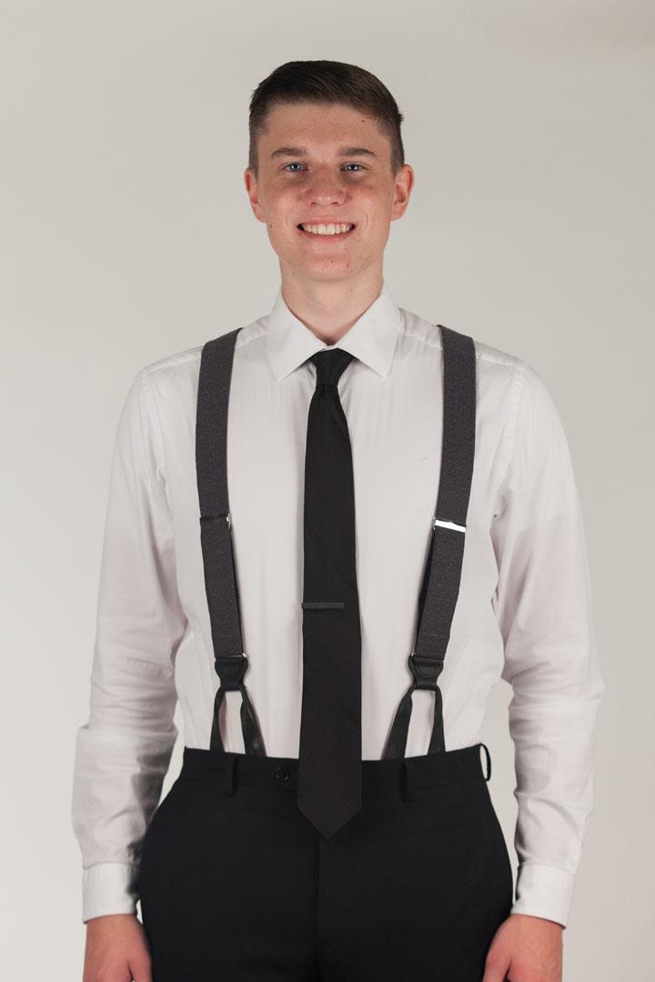 Model Wearing GREY Canton Silk Tweed Suspenders - Front View
