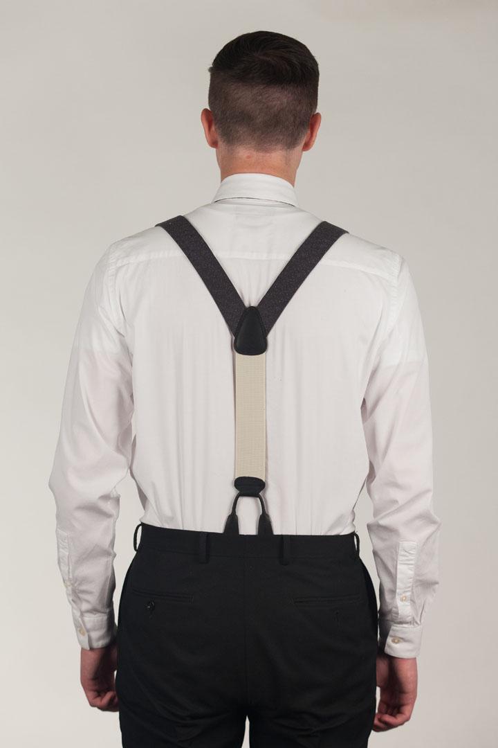 Model Wearing GREY Canton Silk Tweed Suspenders - Rear View