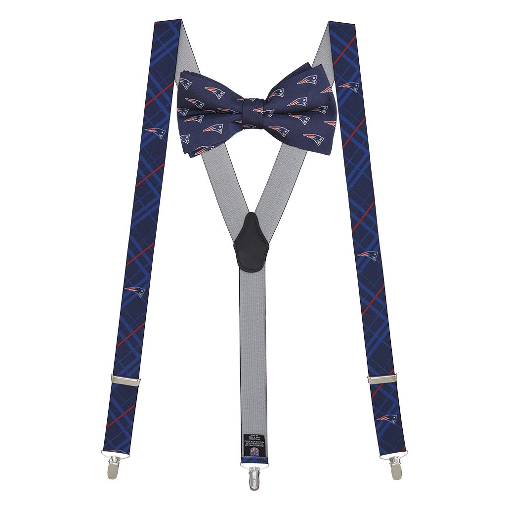 New England Patriots Bow Tie & Suspenders Set - Full View
