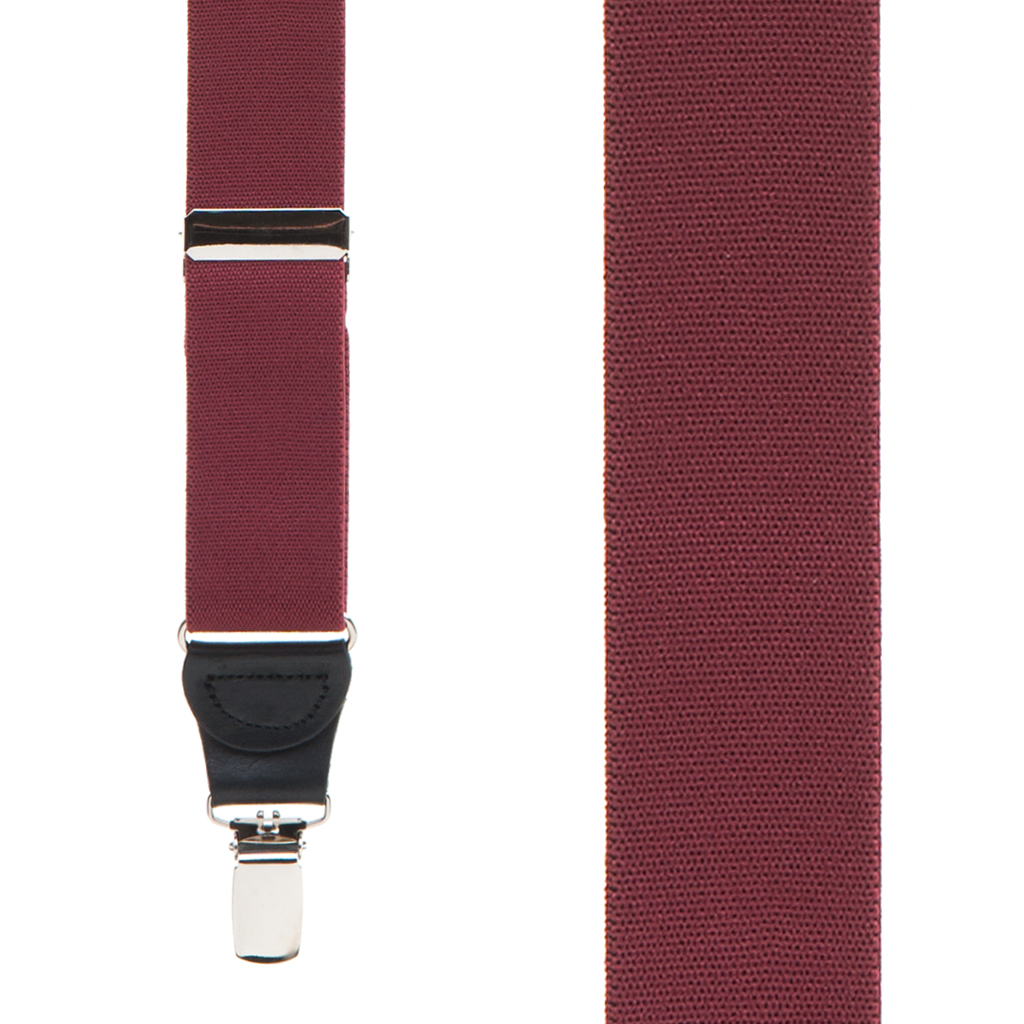 Front View - 1.25 Inch Elastic Drop Clip Suspenders (Y-Back) - Burgundy