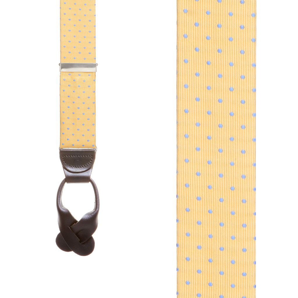 Silk Polka Dot Button Suspenders in Yellow with Blue Dots - Front View