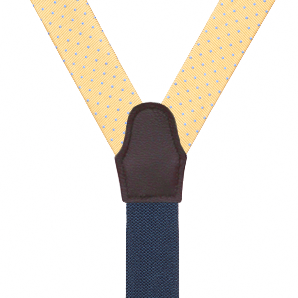 Silk Polka Dot Button Suspenders in Yellow with Blue Dots - Rear View