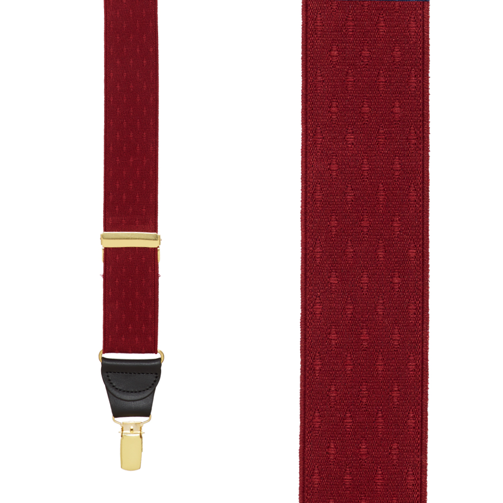 Jacquard Diamond Suspenders in Burgundy - Front View