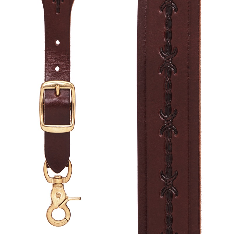 Barbed Wire 1 Inch Wide Western Leather Suspenders - BROWN