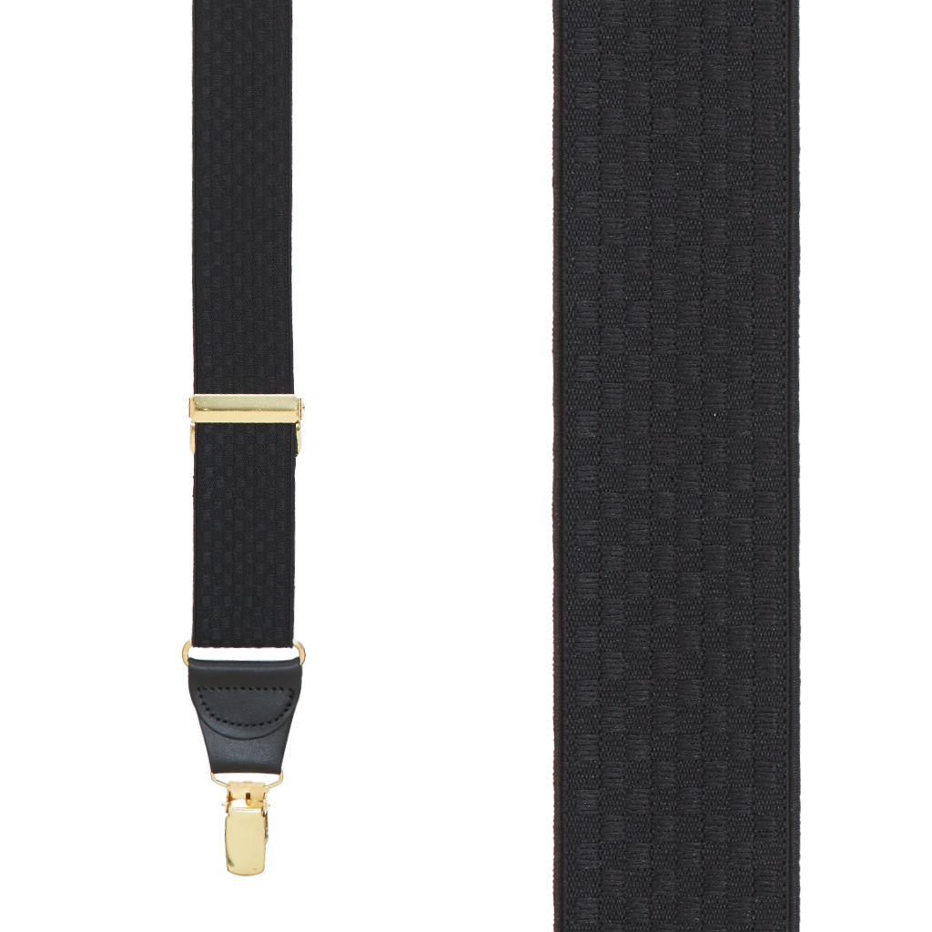 Black Jacquard Checkered Suspenders - Clip - Front View