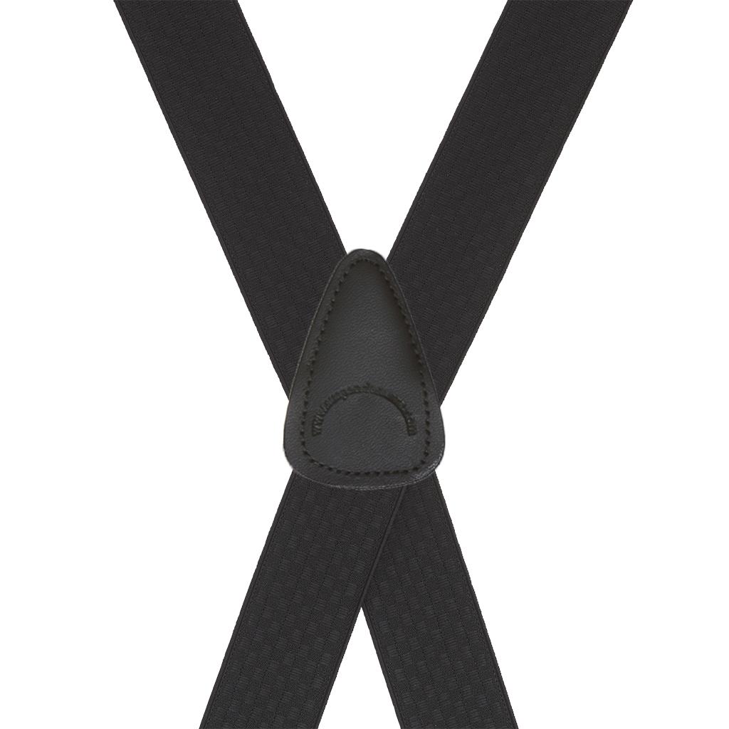 Black Jacquard Checkered Suspenders - Clip - Rear View