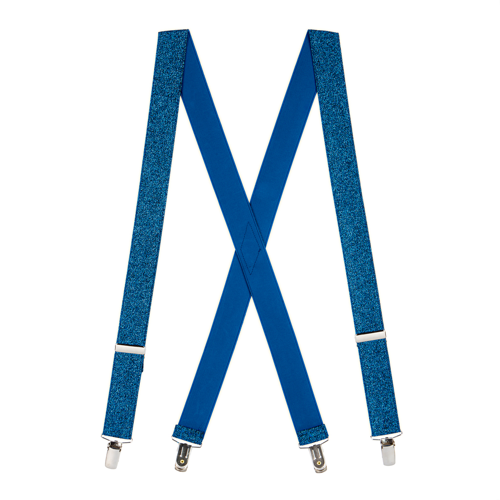 Royal Blue Glitter Suspenders - Full View