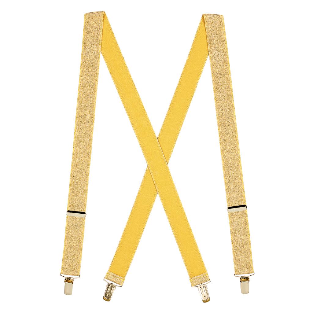 Gold Glitter Suspenders Full View