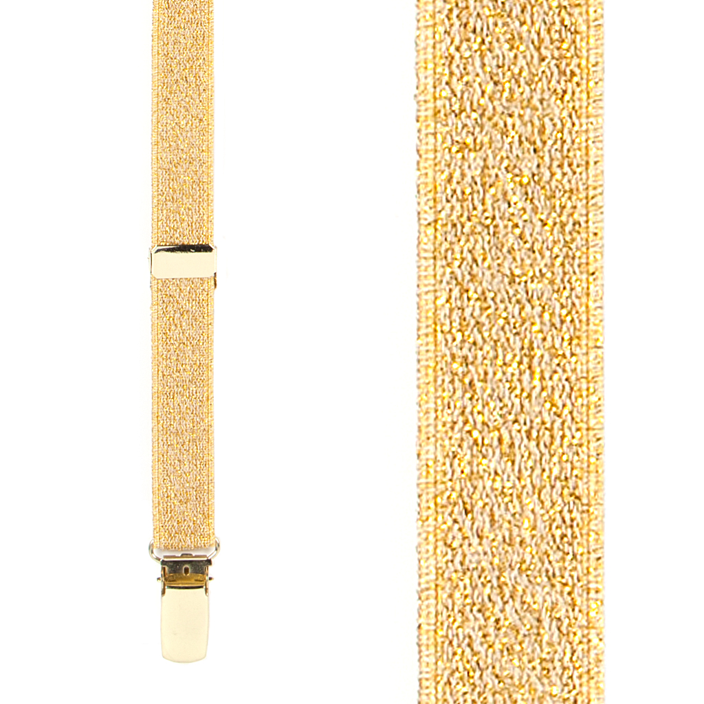 Gold Glitter Suspenders Front View