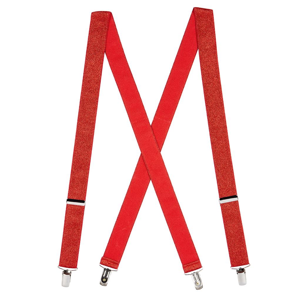 Red Glitter Suspenders - Full View