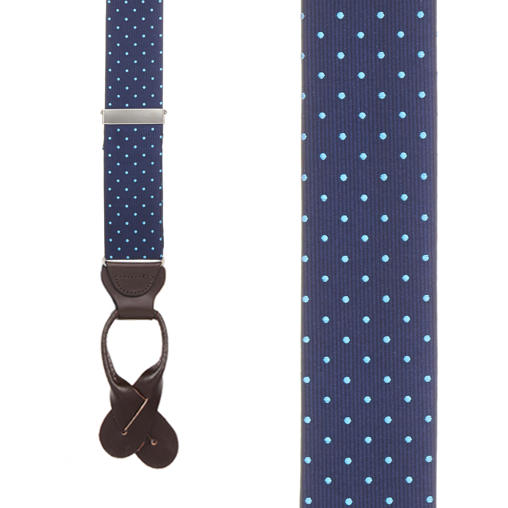 Turquoise Polka Dots on Navy Silk Suspenders - Front View