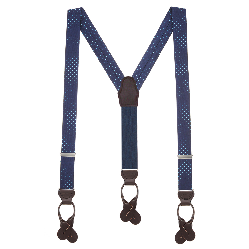 Turquoise Polka Dots on Navy Silk Suspenders - Full View