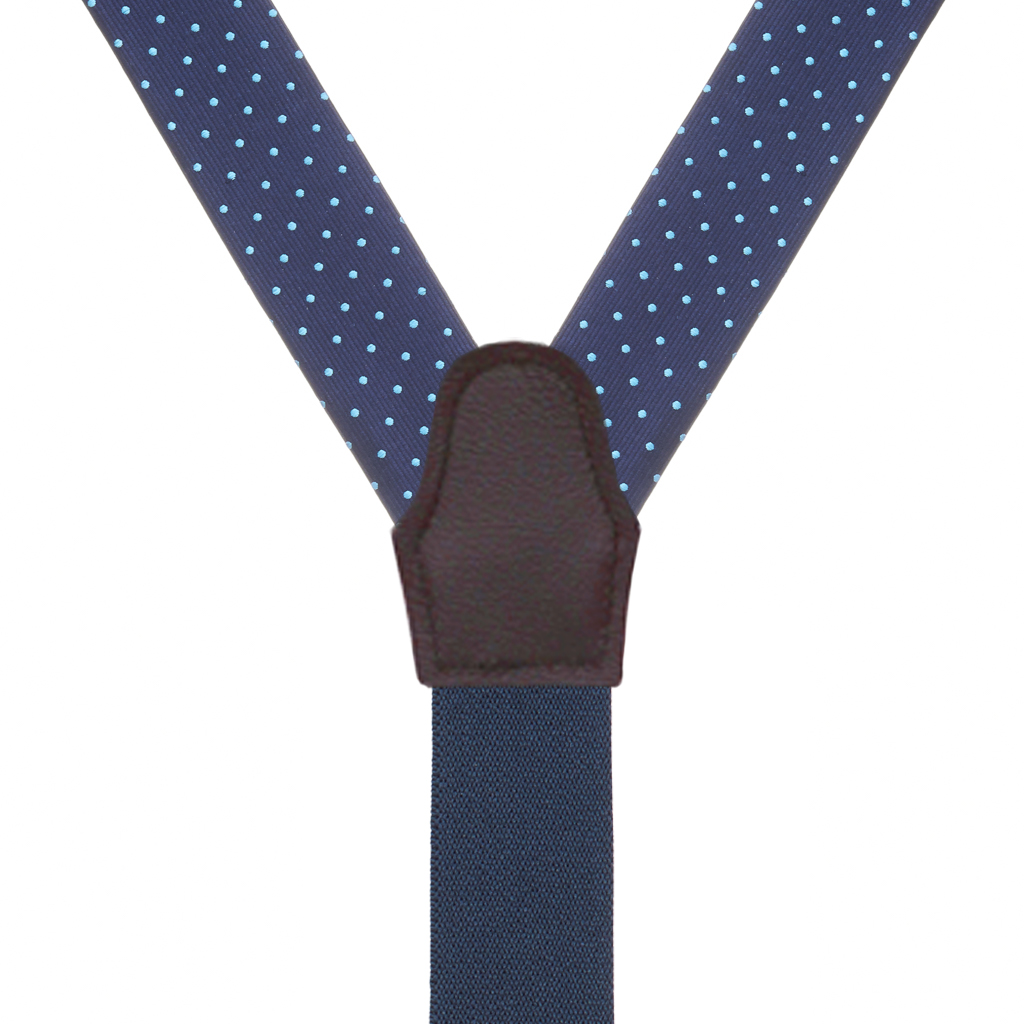 Turquoise Polka Dots on Navy Silk Suspenders - Rear View