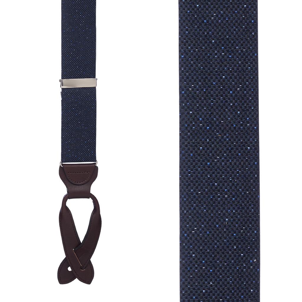 NAVY Canton Silk Tweed Suspenders - Front View
