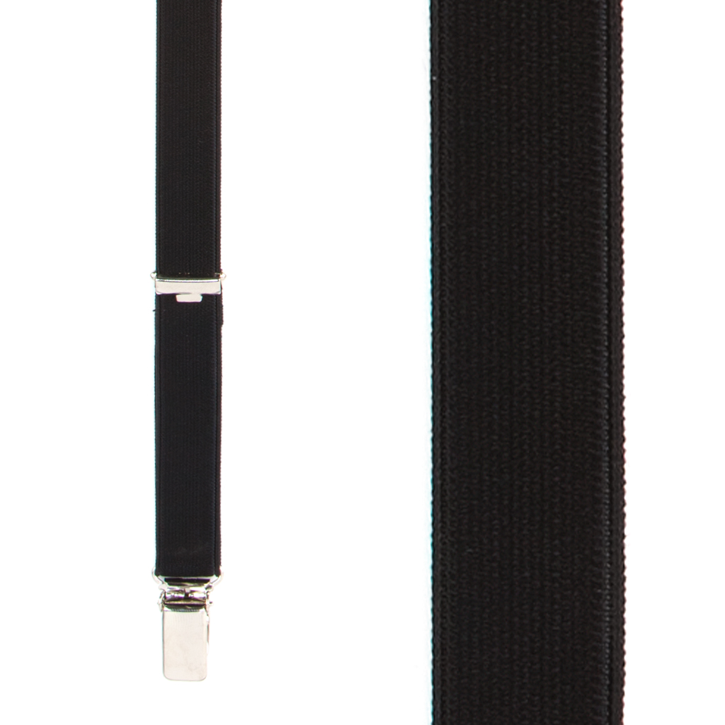 3/4 Inch Wide Thin Suspenders - BLACK (Satin) - Front View