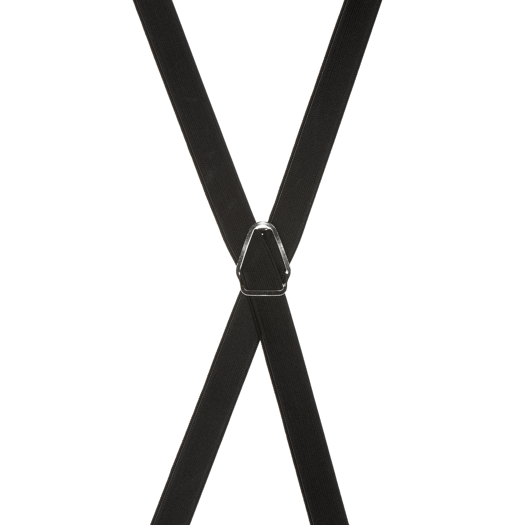 3/4 Inch Wide Thin Suspenders - BLACK (Satin) - Rear View