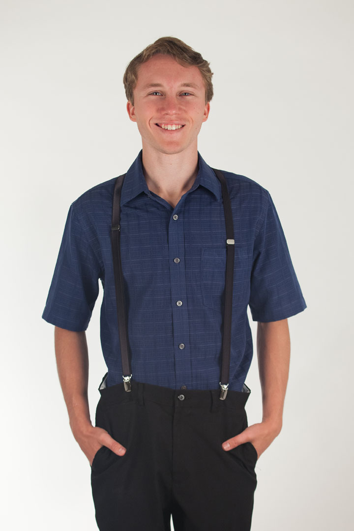 Model Wearing 3/4 Inch Wide Thin Suspenders - BLACK (Satin) - Front View