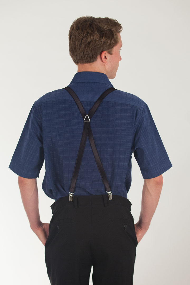 Model Wearing 3/4 Inch Wide Thin Suspenders - BLACK (Satin) - Rear View