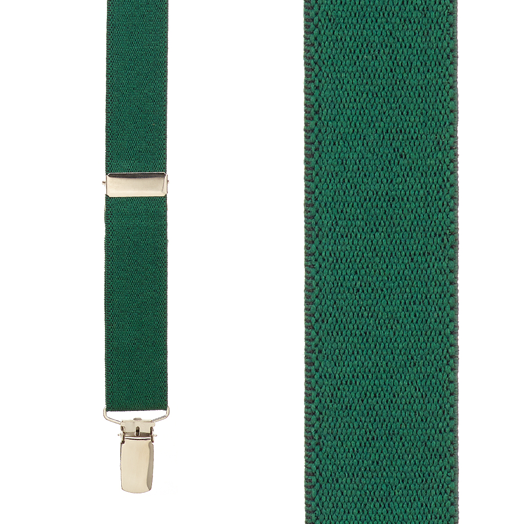 1 Inch Wide Clip X-Back Suspenders in Hunter Green - Front View