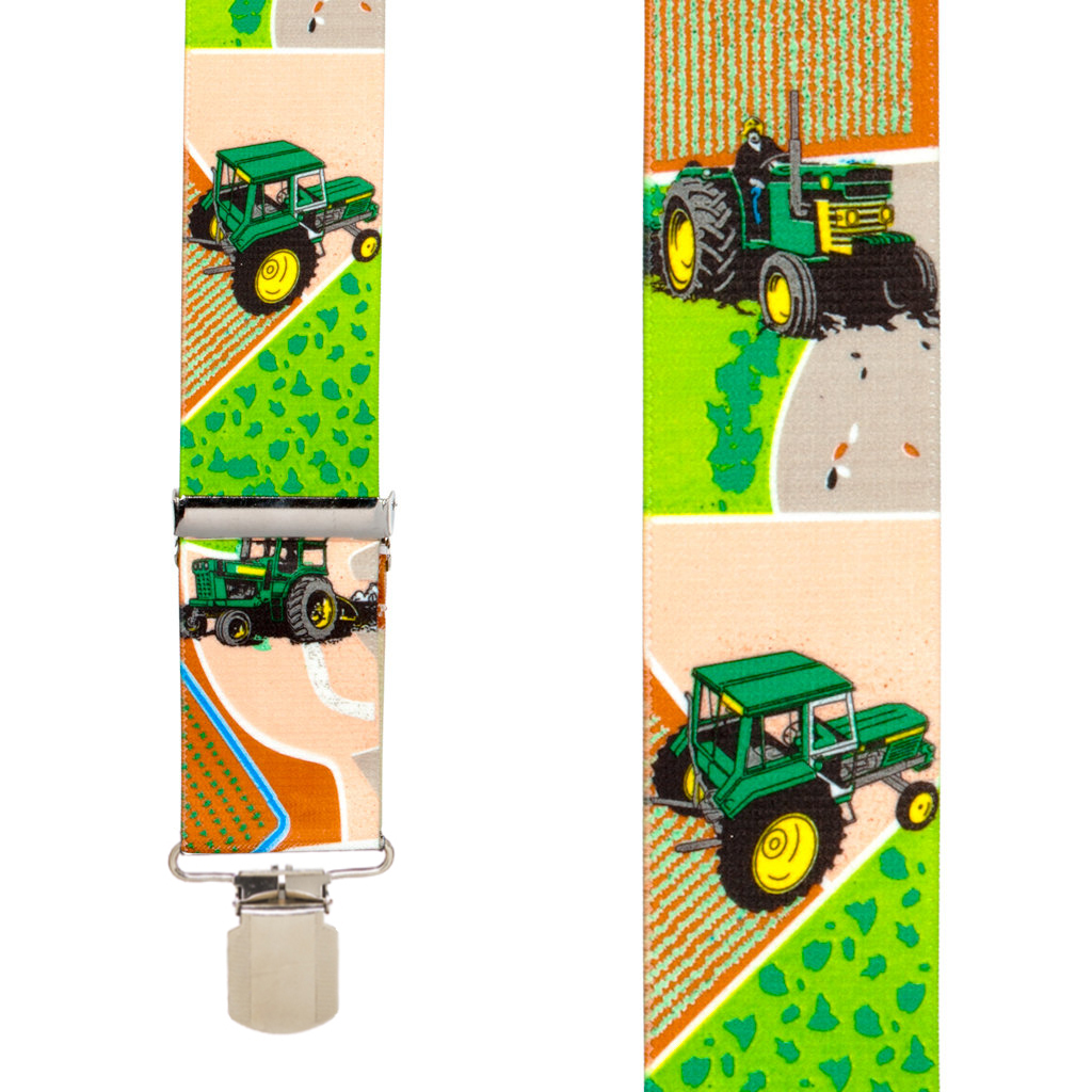 Pin Clip Suspenders in Green Tractor - Front View