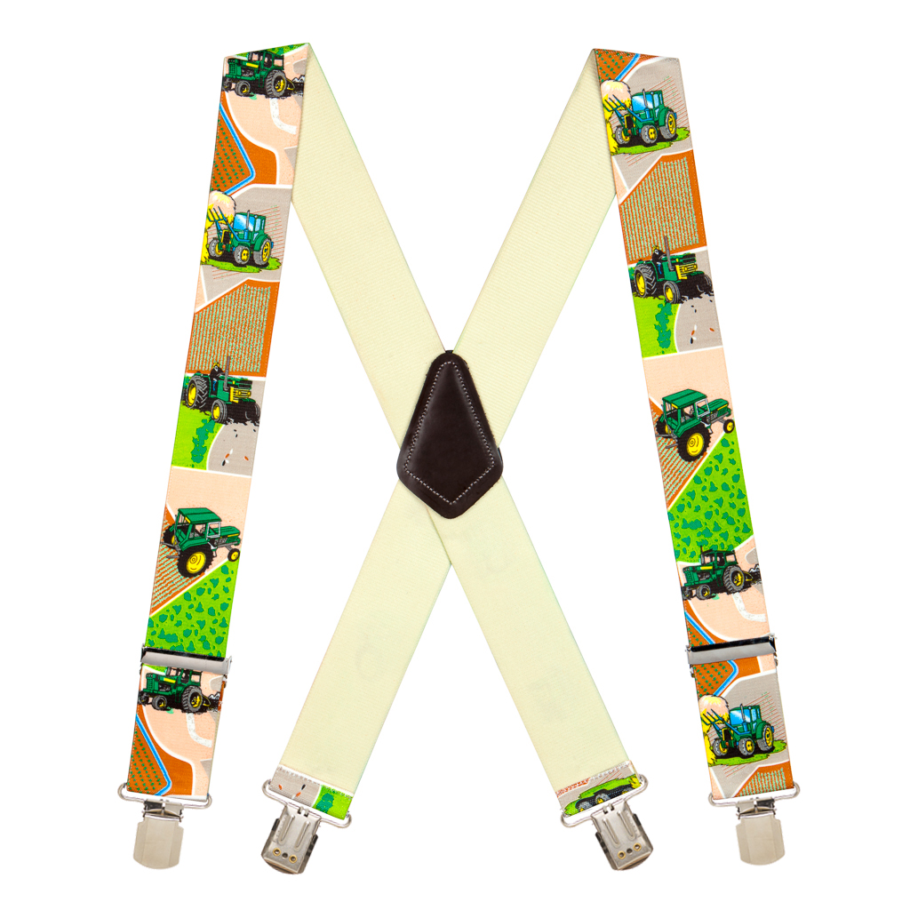 Pin Clip Suspenders in Green Tractor - Full View