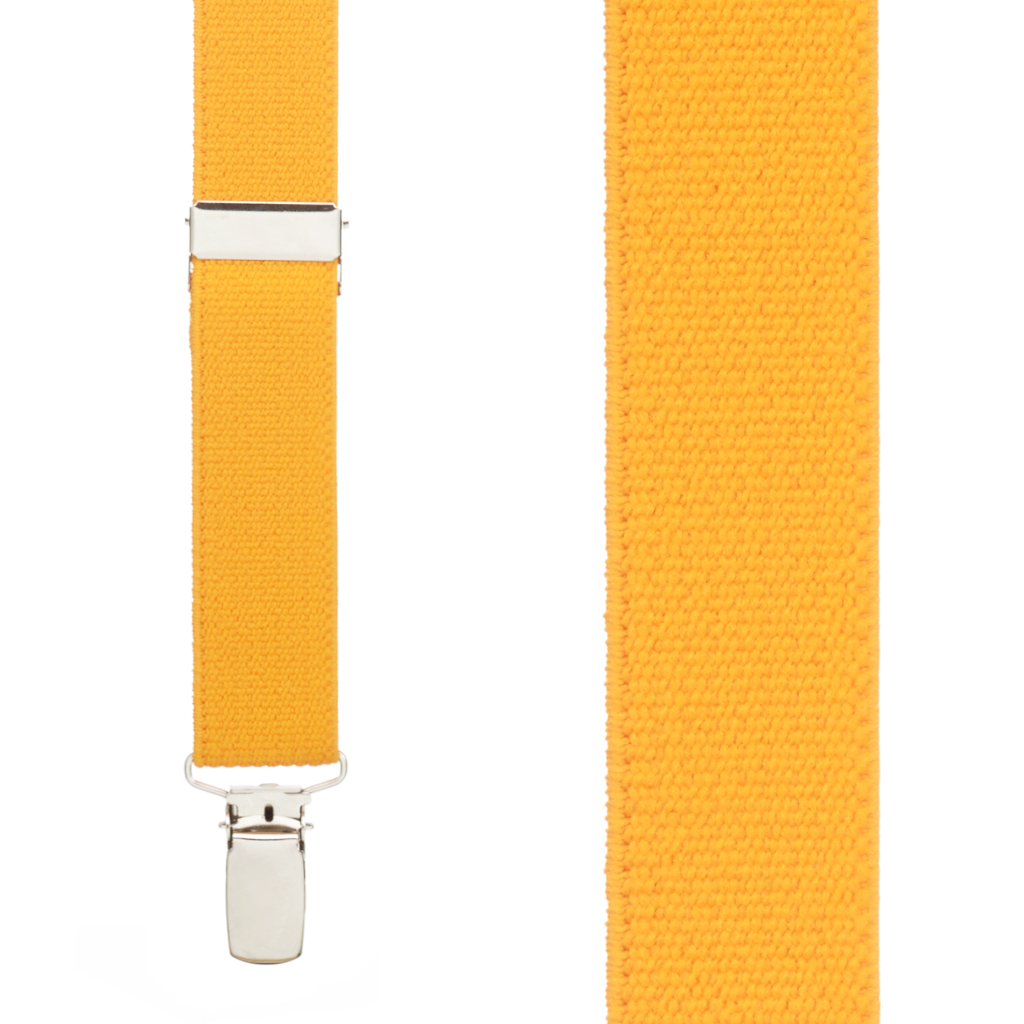 1 Inch Wide Clip X-Back Suspenders in Golden Yellow - Front View