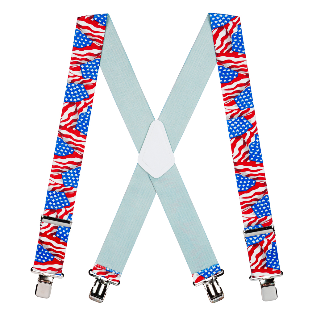 American Flag Suspenders - Full View