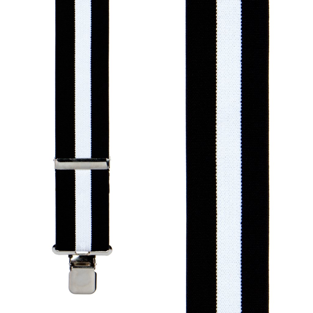 Classic Suspenders - Front View - Black & White Stripe