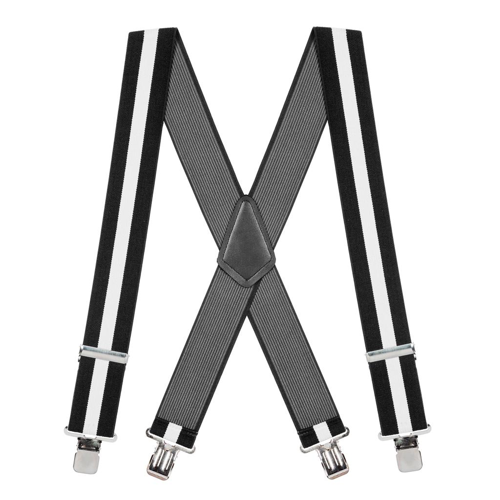 Classic Suspenders - Full View - Black & White Stripe