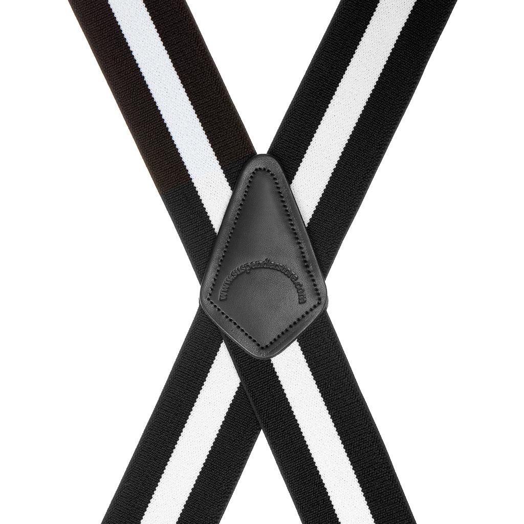 Classic Suspenders - Rear View - Black & White Stripe