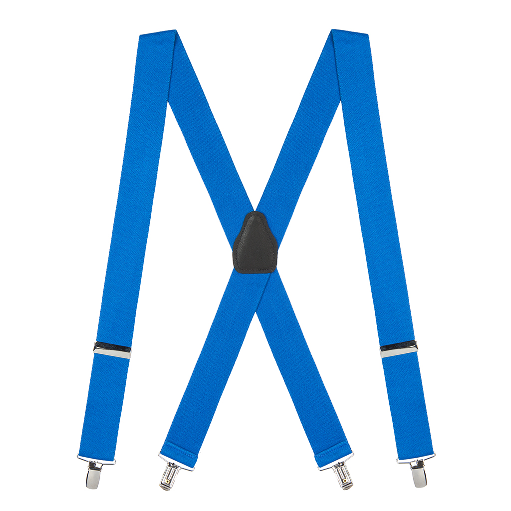 Full View - 1.5 Inch Wide Clip Suspenders - ROYAL BLUE