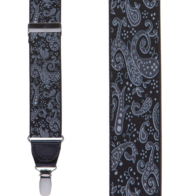 Front View - Black Paisley Drop Clip Suspenders