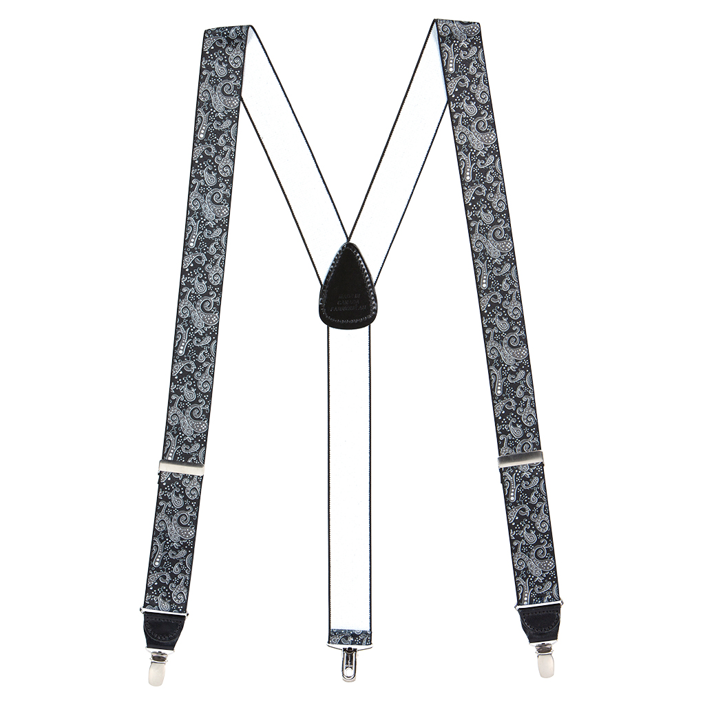 Full View - Black Paisley Drop Clip Suspenders