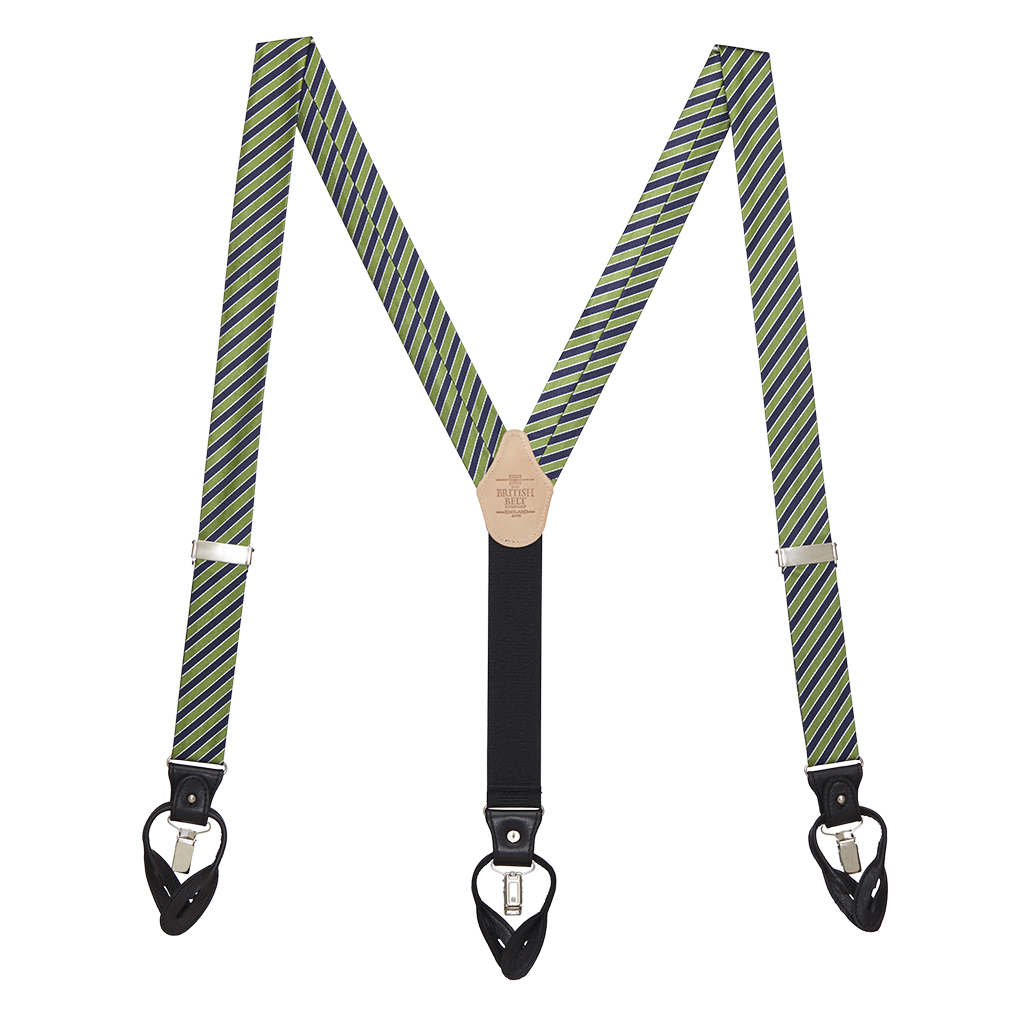 Green & Navy Diagonal Stripe Suspenders - Full View