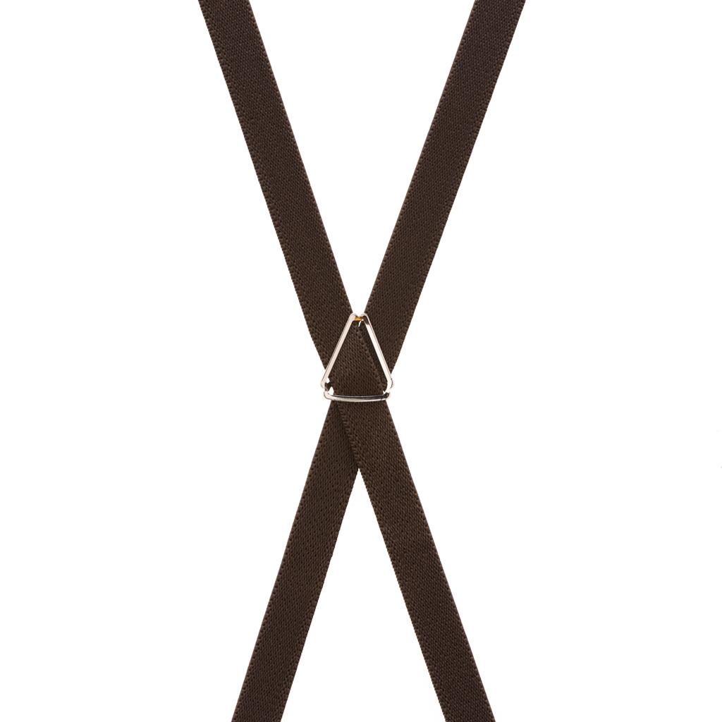 3/4 Inch Wide Thin Suspenders - Matte  BROWN - Rear View