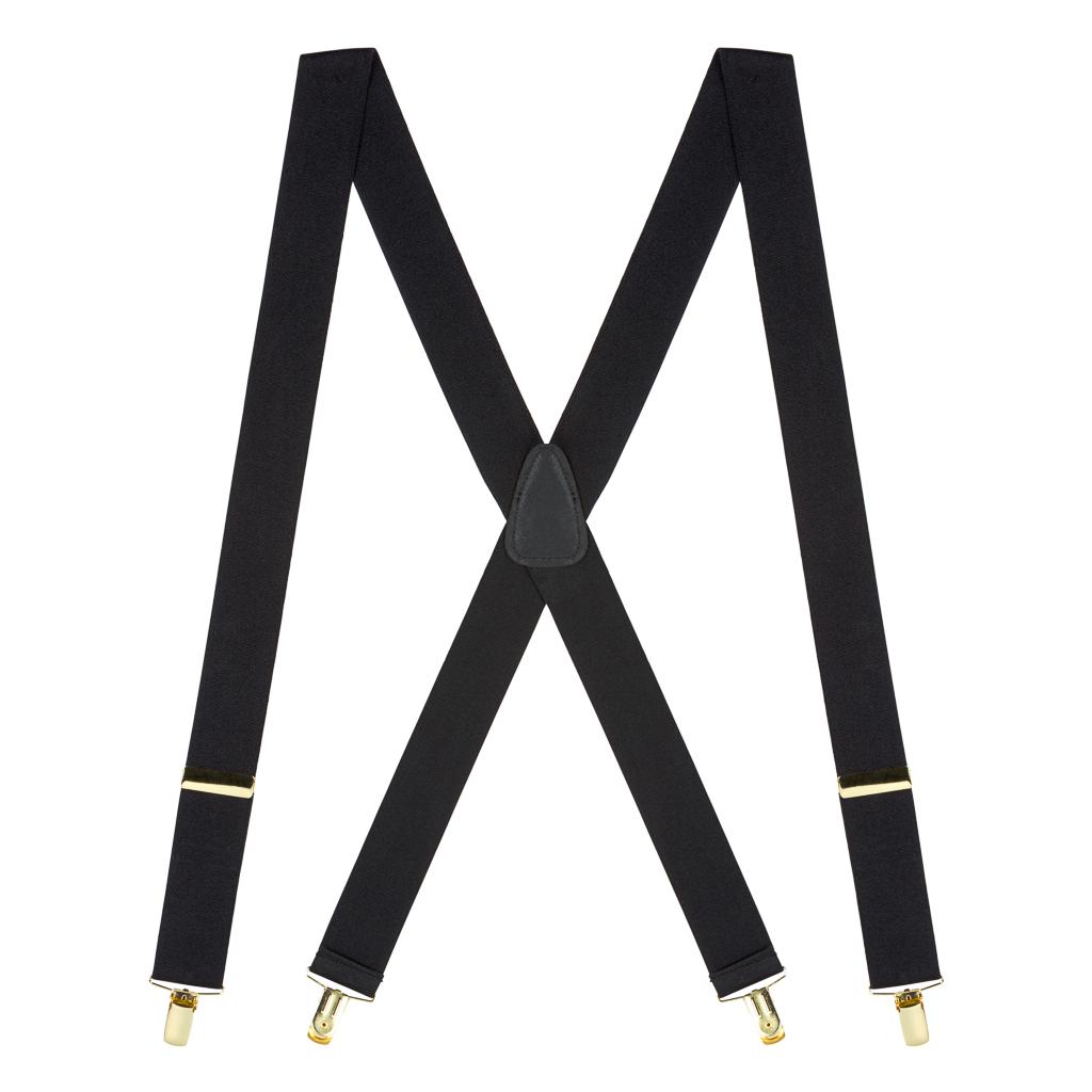Brass Clip Suspenders in Black - Full View