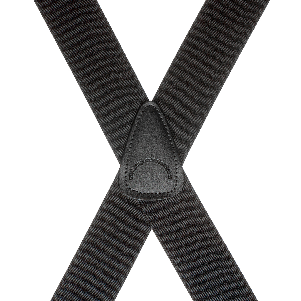 Brass Clip Suspenders in Black - Rear View