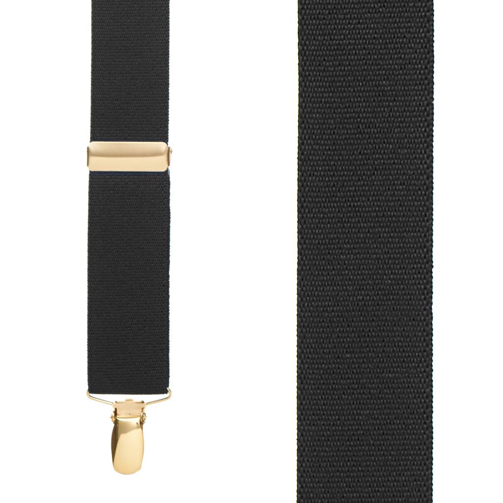 Brass Clip Suspenders in Black - Front View