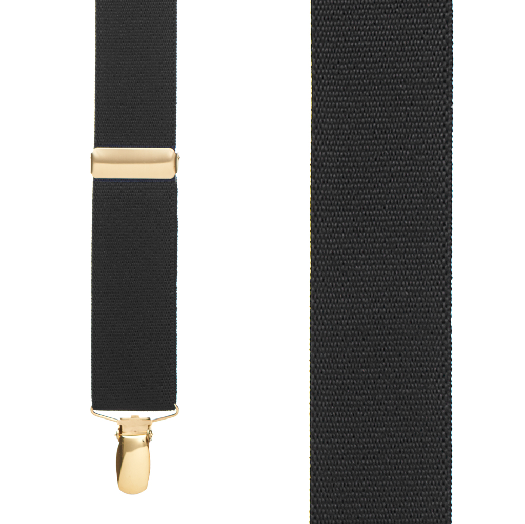 Brass Clip Suspenders in Black - Front View