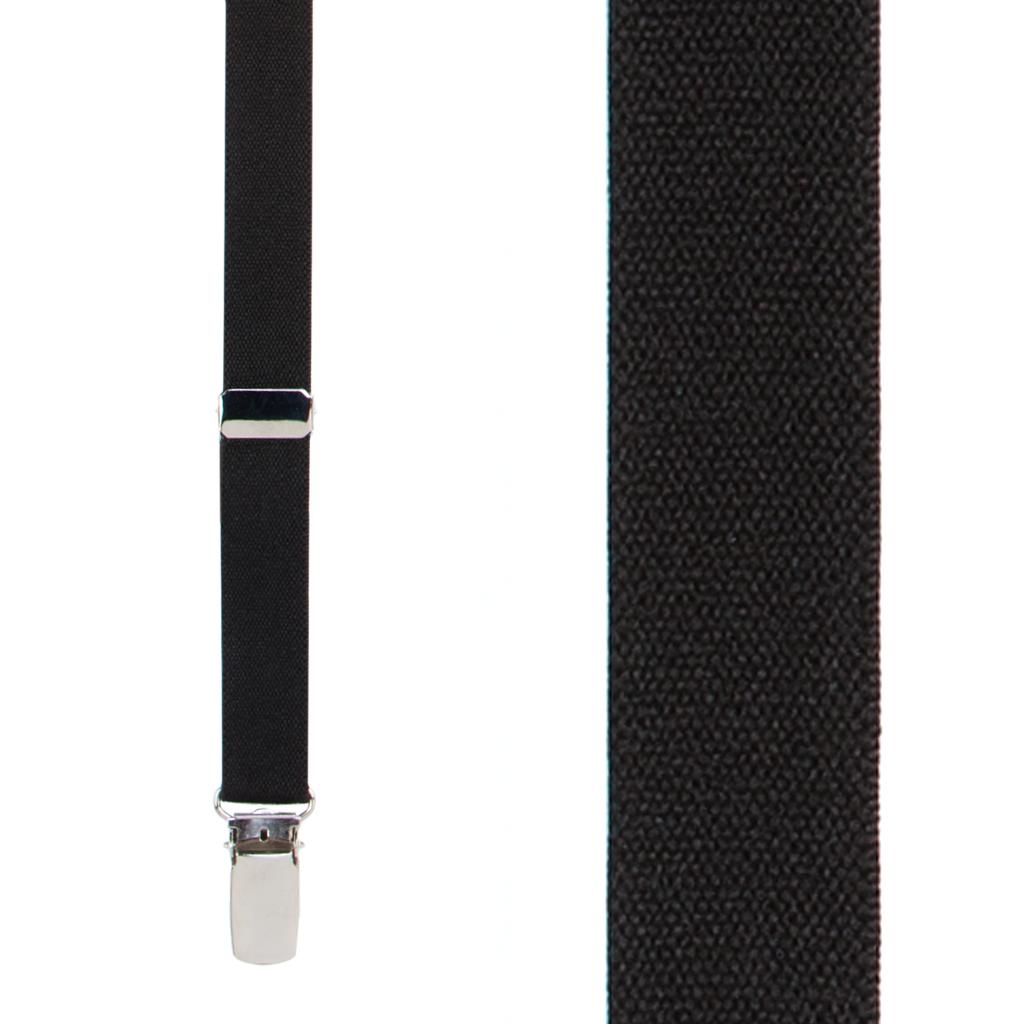 1/2 Inch Wide Skinny Suspenders in Black - Front View